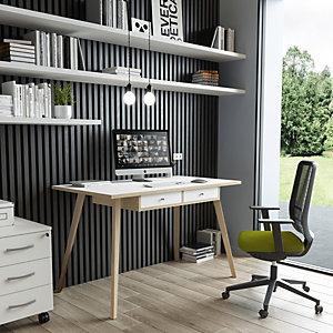 ARTEXPORT FLORENCE ITALY Escritorio Colección Desk, 120 x 60 x 74,4 cm, pata de madera, blanco / roble