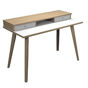 ARTEXPORT FLORENCE ITALY Escritorio Colección Desk Plus, 120 x 60 x 74,4 cm, pata de madera, blanco / roble