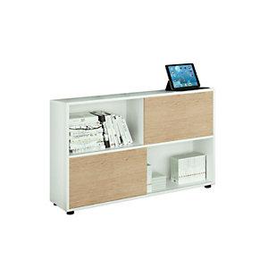 ARTEXPORT FLORENCE ITALY Estantería modular baja Sliding, 120 x 35 x 79 cm, color blanco / roble
