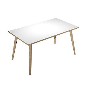 ARTEXPORT FLORENCE ITALY Mesa de oficina Woody, 140 x 80 x 74,4 cm, pata madera, color blanco / roble