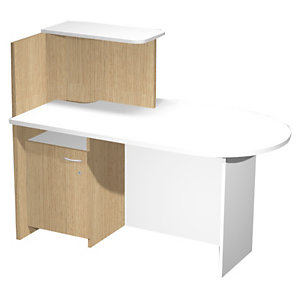 ARTEXPORT FLORENCE ITALY Mostrador Multitask, encimera dererecha, 142,5 x 83 x 117,2 cm, color roble / blanco