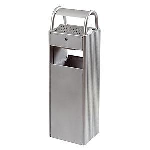 Asbak 6 L en vuilnisbak 30 L Rossignol grijs metaal RAL 9006