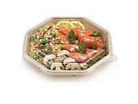 Assiette en canne octogonale avec couvercle