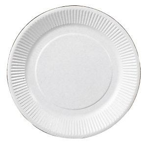 Assiettes jetables en carton, coloris blanc, Ø 23 cm, colis de 500