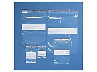 Assortiment de 500 sachets plastique à fermeture zip à bandes blanches 100 microns Rajagrip Super