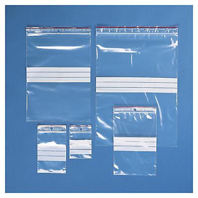 Assortiment de sachets zip à bandes blanches 100 microns##Testpakket transparante gripzakjes met witte stroken 100 micron