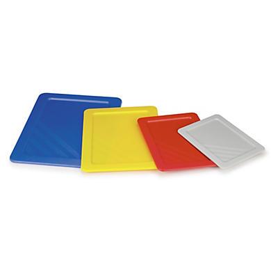 Auflagedeckel für farbige, nestbare Stapelbehälter