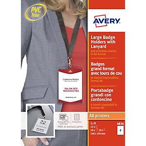 Avery 4834 - 10 lacets + pochettes en plastique pour badge - A6