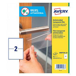 Avery Adhesivos antibacterianos de poliéster transparente, 199.6 x 143.5 mm, 2 adhesivos por hoja, permanente