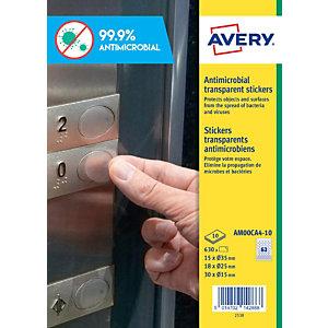 Avery Adhesivos antibacterianos de poliéster transparente, varios tamaños, no imprimibles, permanentes