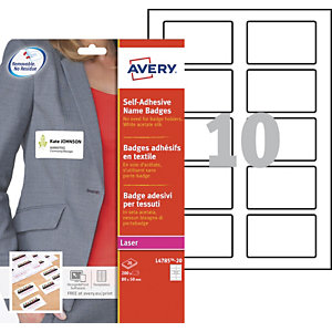 Avery Badge di identificazione autoadesivi in acetato effetto seta, Per stampanti laser, Riposizionabili, 80 x 50 mm, 20 fogli, 10 etichette per foglio, Bianco (confezione 200 pezzi)