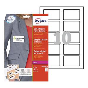 Avery Badges adhésifs en soie-acétate pour imprimantes laser, repositionnables, 80x50 mm, 20feuilles, 10étiquettes par feuille, blanc