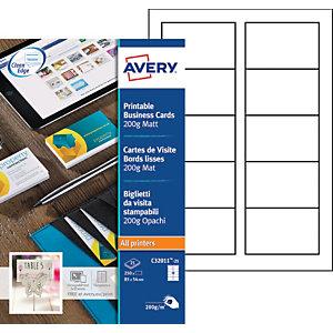 Avery Biglietti da visita bianchi, Formato 85 x 54 mm, Per stampanti laser, Angoli vivi, Grammatura 200 g/m², 25 fogli (confezione 250 biglietti)