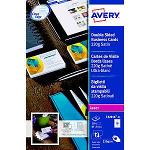 Avery Biglietti da visita satinati, Formato 85 x 54 mm, Per stampanti laser, Angoli vivi, Grammatura 220 g/m², 25 fogli (confezione 250 biglietti)