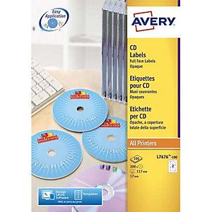 AVERY Boîte de 200 étiquettes Laser monochrome pour CD et DVD L7676-25