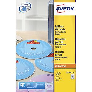 AVERY Boîte de 50 étiquettes laser couleur pour CD et DVD