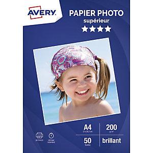 AVERY Boîte de 50 feuilles de papier photo brillant A4, Jet d'encre, 200g/m²