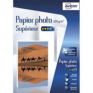 AVERY Boîte de 60 feuilles de papier photo brillant 10x15cm, Jet d'encre, 200g/m²