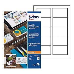 Avery C32010-25 - Cartes de visite blanches à bords micro perforés - 85 x 54 mm - Impression laser, jet d'encre, copieur