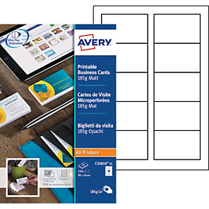 Avery C32010-25 - Cartes de visite blanches à bords micro perforés - 85 x 54 mm - Impression laser, jet d'encre, copieur