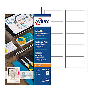 Avery C32011-25 - Cartes de visite blanches à bords lisses 85 x 54 mm - Impression laser, jet d'encre, copieur