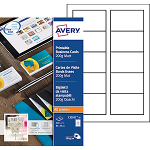 Avery C32011-25 - Cartes de visite blanches à bords lisses 85 x 54 mm - Impression laser, jet d'encre, copieur