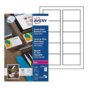 Avery C32016-10 - Cartes de visite blanches à bords lisses - 85 x 54 mm - Impression laser
