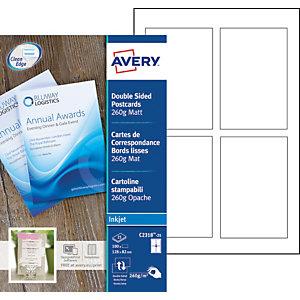 Avery Cartes de visite à bords lisses imprimables recto/verso - Format 128 x 82 mm - Carte blanche mate 260g - C2318-25 - Impression jet d'encre - Pochette de 100