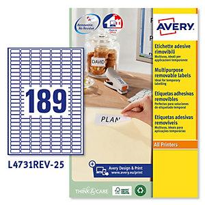 AVERY Etichetta adesiva L4731REV - rimovibile - adatta a stampanti laser - 25,4x10 mm - 18 etichette per foglio - bianco - Avery - conf. 25 fogli A4