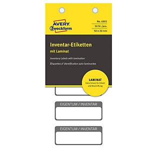 AVERY Etichetta per inventario - autoplastificata - permanente - rettangolare - 50x20 mm - 5 etichette per foglio - bianco - Avery - blister da 10 fogli