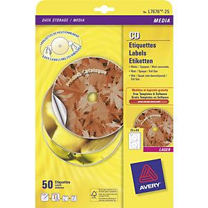 Avery Etichette a copertura totale per CD/DVD, Per stampanti inkjet e laser, Diametro 117 mm, 100 fogli, 2 etichette per foglio, Bianco