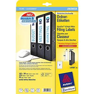Avery Etichette dorso per registratori archivio, Per stampanti inkjet e laser, 38 x 192 mm, 25 fogli, 7 etichette per foglio, Autoadesive, Bianco brillante