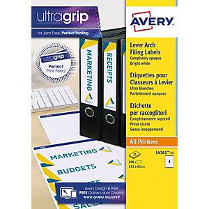 Avery Etichette dorso per registratori archivio, Per stampanti inkjet e laser, 61 x 192 mm, 25 fogli, 4 etichette per foglio, Autoadesive, Bianco brillante