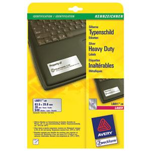 Avery Etichette extra-forti, Per stampanti laser in bianco e nero, 63,5 x 29,6 mm, 20 fogli, 27 etichette per foglio, Argento