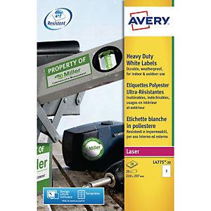 Avery Etichette extra-resistenti, Per stampanti laser, Resistenti agli agenti atmosferici, 210 x 297 mm, 20 fogli, 1 etichetta per foglio, Bianco