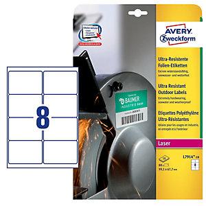 AVERY Etichette in polietilene per protezione e sicurezza - 99,1x67,7mm - laser - 10 fogli - Avery