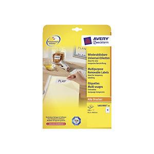 Avery Etichette multiuso rimovibili, Per stampanti laser e inkjet, 63,5 x 46,6 mm, 25 fogli, 18 etichette per foglio, Autoadesive, Bianco