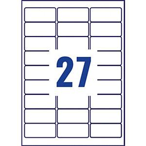 Avery Etichette multiuso rimovibili, Per tutte le stampanti, 63,5 x 29,6 mm, 25 fogli, 27 etichette per foglio, Autoadesive, Bianco