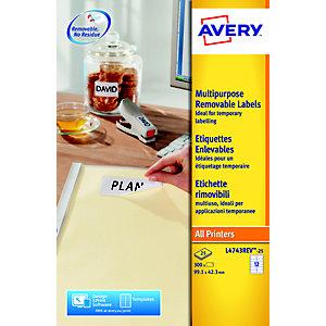 Avery Etichette multiuso rimovibili, Per tutte le stampanti, 99,1 x 42,3 mm, 25 fogli, 12 etichette per foglio, Autoadesive, Bianco