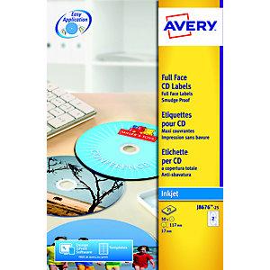 Avery Etichette per CD/DVD Full Face, Per stampanti inkjet, Ø117 mm, 25 fogli, 2 etichette per foglio, Bianco opaco