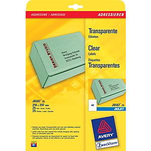 Avery Etichette per indirizzi per buste e pacchi, Per stampanti inkjet, 210 x 297 mm, 25 fogli, 1 etichetta per foglio, Autoadesive, Trasparente