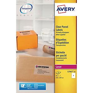Avery Etichette per indirizzi per buste e pacchi, Per stampanti laser, 210 x 297 mm, 25 fogli, 1 etichetta per foglio, Autoadesive, Trasparente