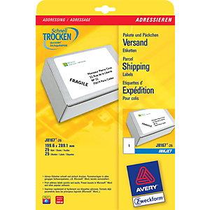 Avery Etichette per indirizzi per pacchi, Per stampanti inkjet, 199,6 x 289,1 mm, 25 fogli, 1 etichetta per foglio, Autoadesive, Bianco