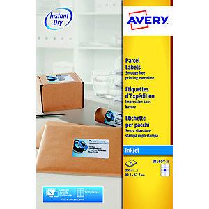 Avery Etichette per indirizzi per pacchi, Per stampanti inkjet, 99,1 x 67,7 mm, 25 fogli, 8 etichette per foglio, Autoadesive, Bianco