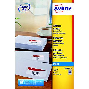 Avery Etichette per indirizzi, Per stampanti inkjet, 63,5 x 38,1 mm, 25 fogli, 21 etichette per foglio, Autoadesive, Bianco