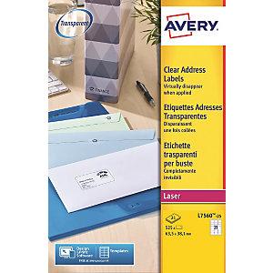 Avery Etichette permanenti per indirizzi, Per stampanti laser, 63,5 x 38,1 mm, 25 fogli, 21 etichette per foglio, Autoadesive, Trasparente