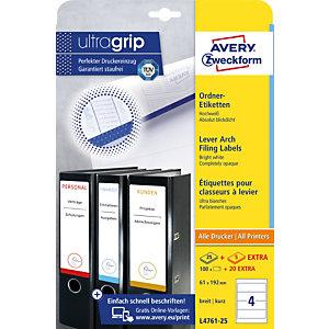 Avery Etiqueta lomera de archivador de palanca para impresoras de inyección de tinta, 61 x 192 mm, 25 hojas, 4 etiquetas por hoja, autoadhesivas, blanco brillante
