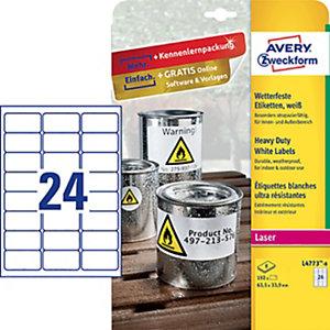 Avery Etiqueta de poliéster autoadhesiva resistente a la intemperie, 63,5 x 33,9 mm, 8 hojas, 24 etiquetas por hoja A4, blanco