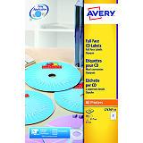 Avery Etiquetas completas para CDs/DVDs para impresoras láser, 117 mm de diámetro, 25 hojas, 2 etiquetas por hoja, blanco mate