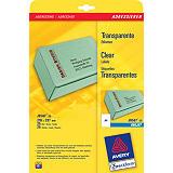 Avery Etiquetas de dirección para impresoras de inyección de tinta, 210 x 297 mm, 25 hojas, 1 etiqueta por hoja, autoadhesivas, trasparentes